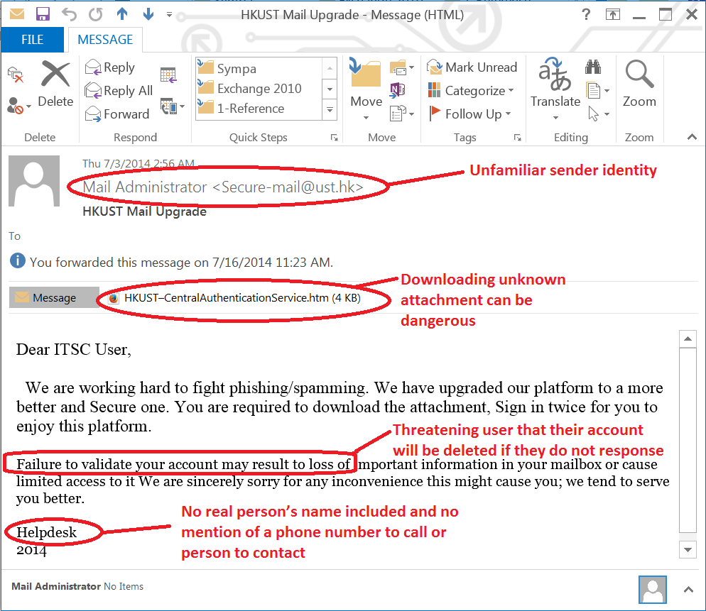 3 Example Email - Spoofed